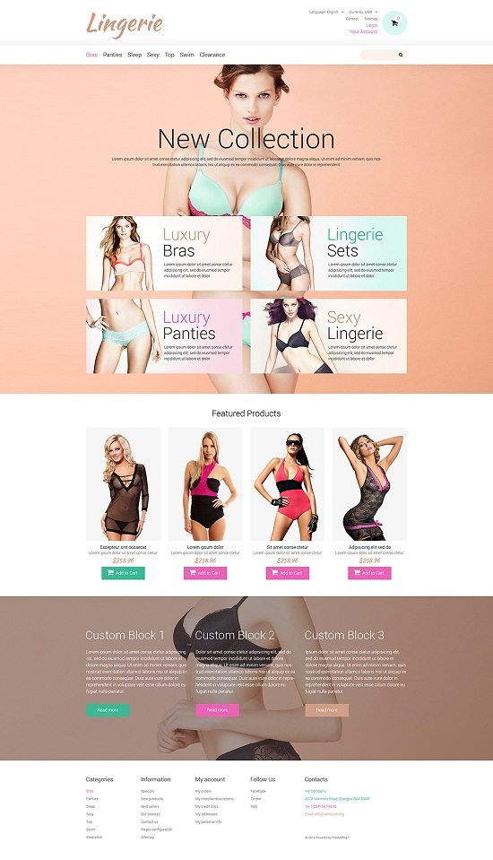 Lingerie for Tender Women PrestaShop Theme