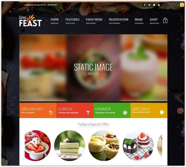 LinoFeast Restaurant Responsive WordPress Theme