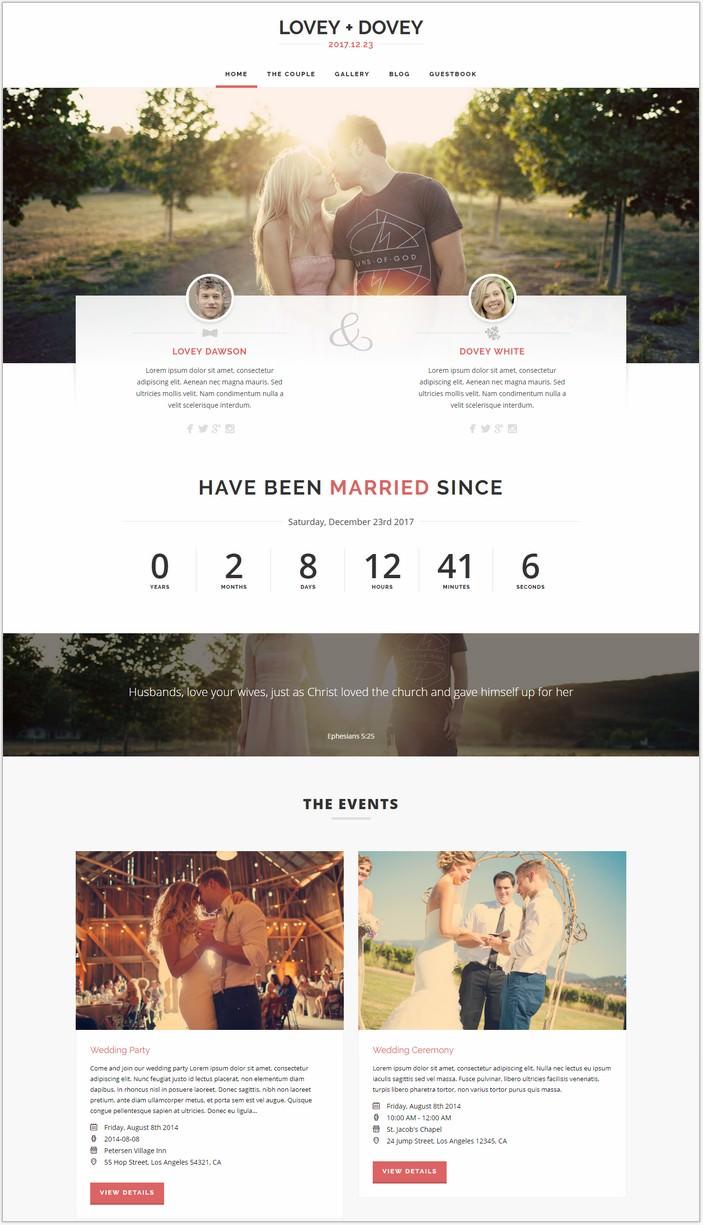 Lovey Dovey - Responsive WordPress PHP Wedding Theme