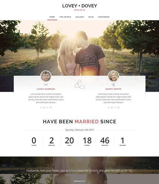 Lovey Dovey - Responsive WordPress Wedding Theme