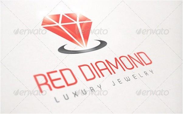 Luxury Red Diamond Jewelry Logo