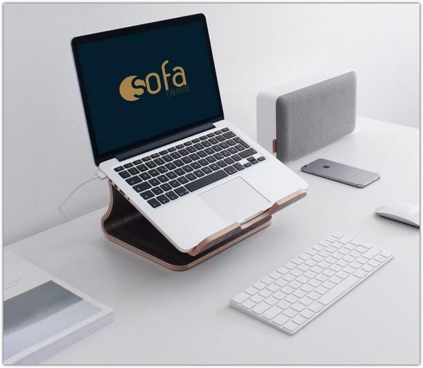 Macbook Pro on Stand Mockup