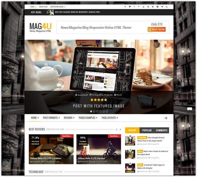 Mag4u - Responsive Retina HTML News, Magazine, Blog