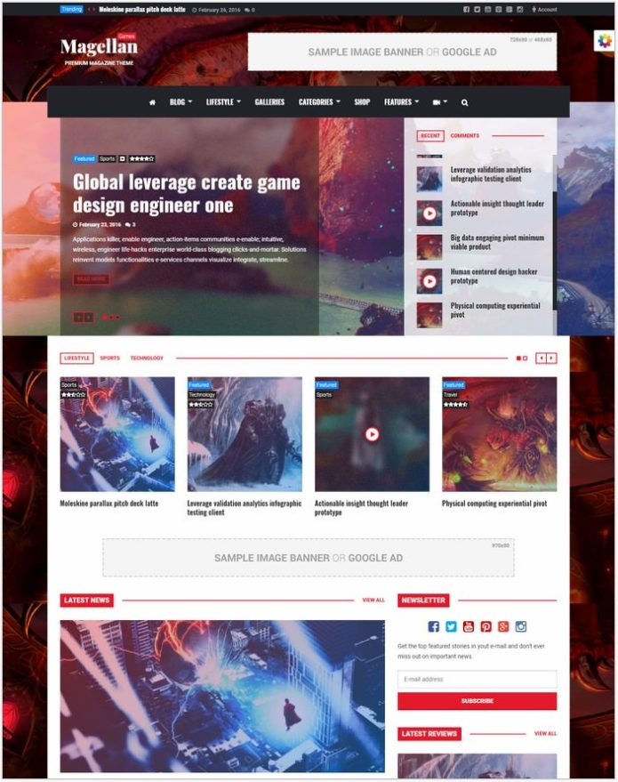 Magellan -Gaming WordPress Theme