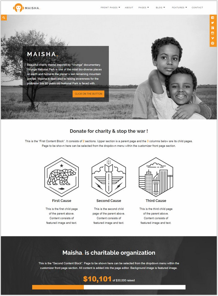Maisha Charity/Non-Profit WordPress Theme