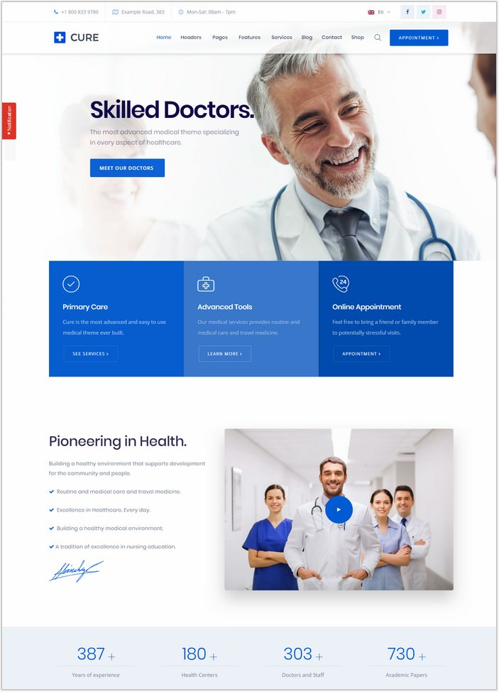 Medical Cure - Health and Medical WordPress PHP Theme
