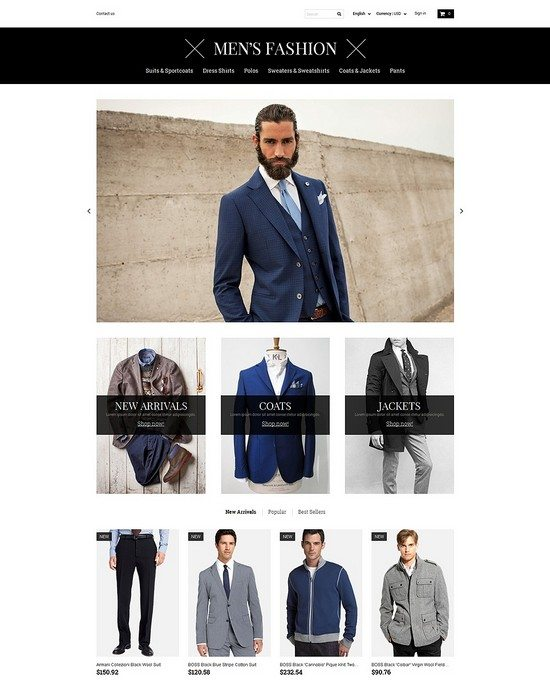 Men's Corporate Fashion Shop PrestaShop Theme