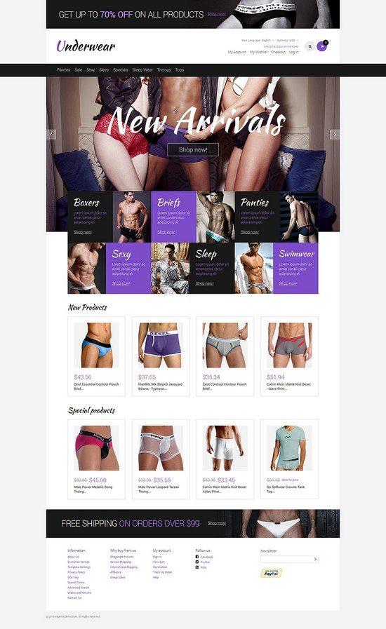 Men's Underwear Responsive Magento Theme