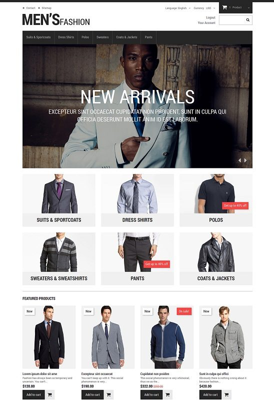 Menswear PrestaShop Theme