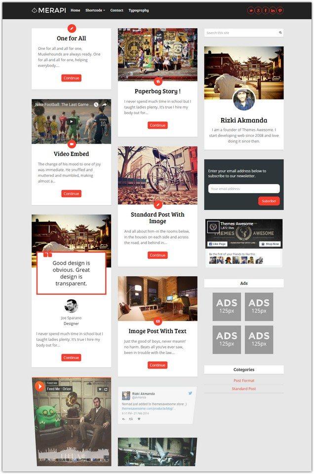 Merapi - Modern Grid Blog Theme
