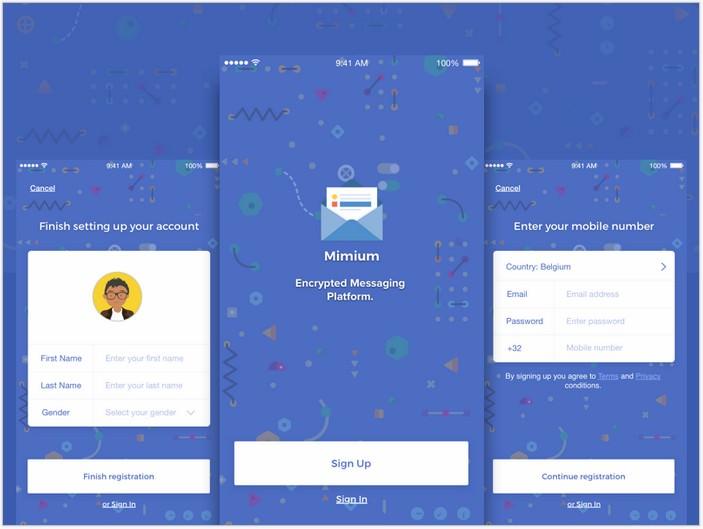 Mimium Messenger App UI Sketch Template