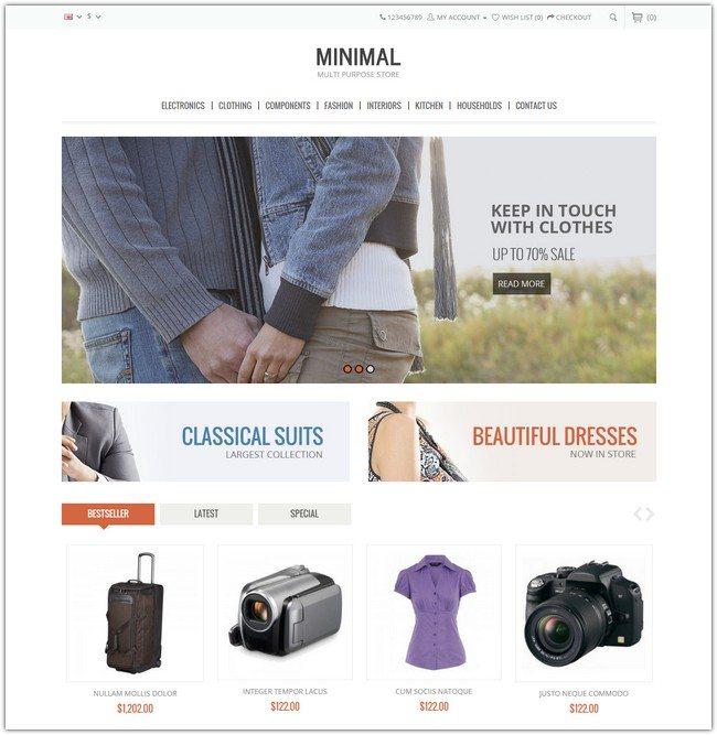 Minimal Multi Purpose - Responsive Opencart Theme