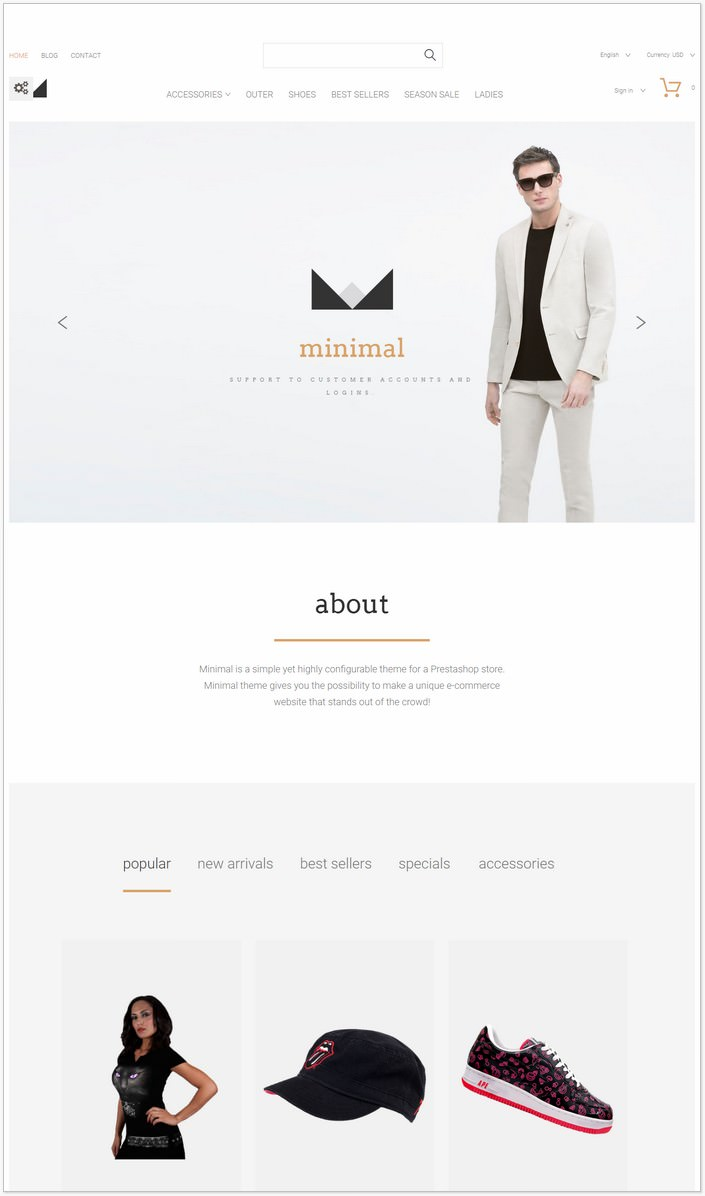 Minimal PrestaShop Fashion PHP Theme