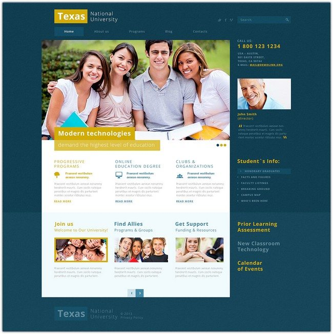 Modern and Fancy University Joomla Template