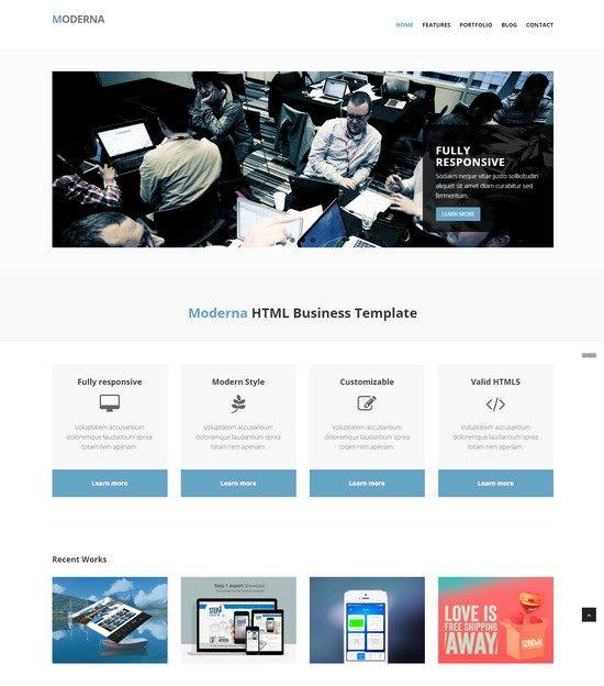 Moderna Free Bootstrap template for corporate