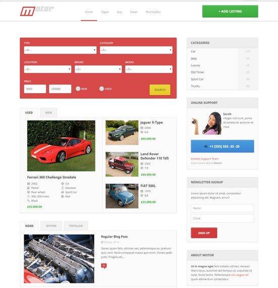 Motor - Vehicle Marketplace Responsive WP Theme