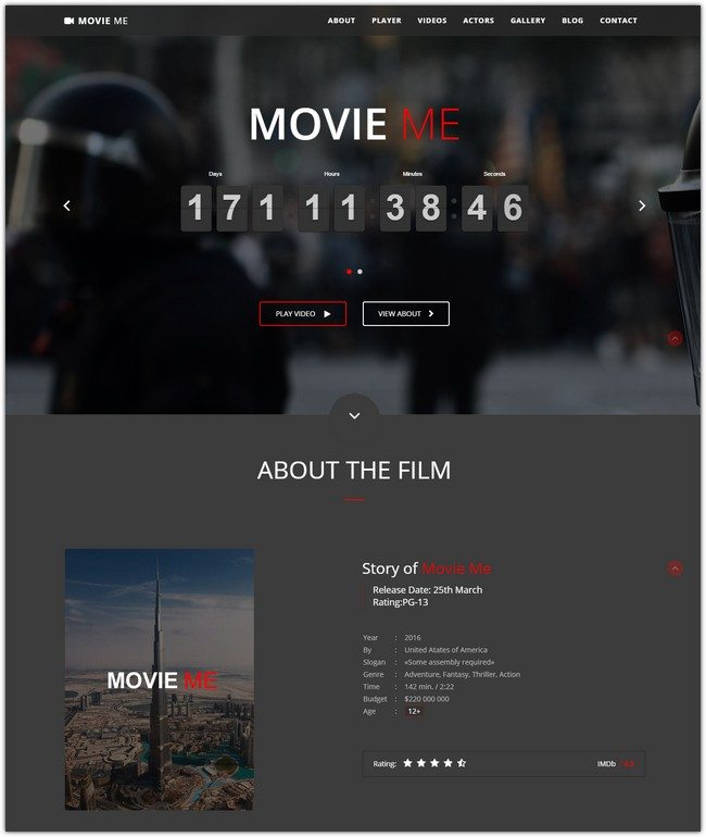 Movie Me – One Page Responsive WordPress Theme