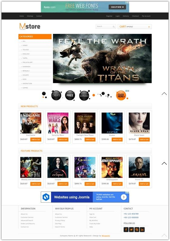 Movies Store online shopping Entertainment Template