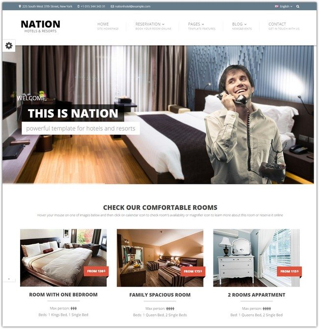 Nation Hotel - Responsive HTML Template