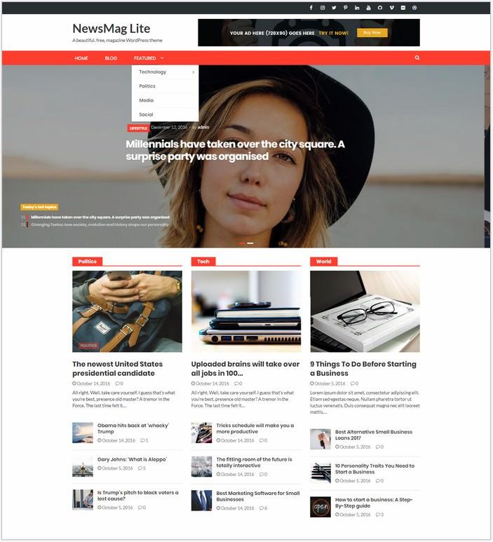 Newsmag Lite Website Template