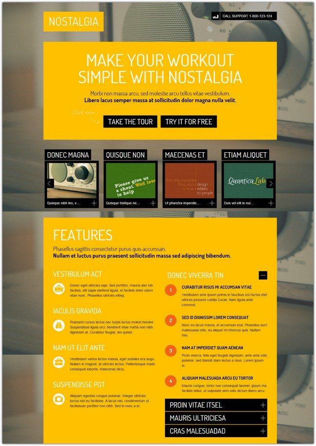 Nostalgia - Responsive WordPress Landing Page
