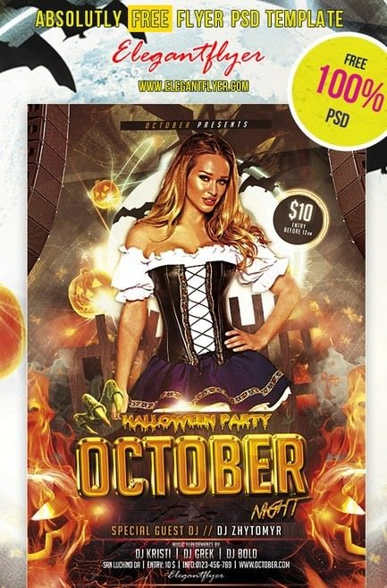 October Night – Club and Party Free Flyer PSD Template