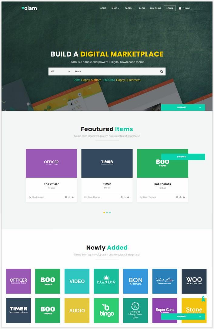 Olam - WordPress Easy Digital Downloads Theme, Digital Marketplace, Bookings