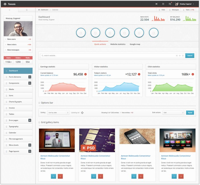 Pannonia – fully responsive admin template