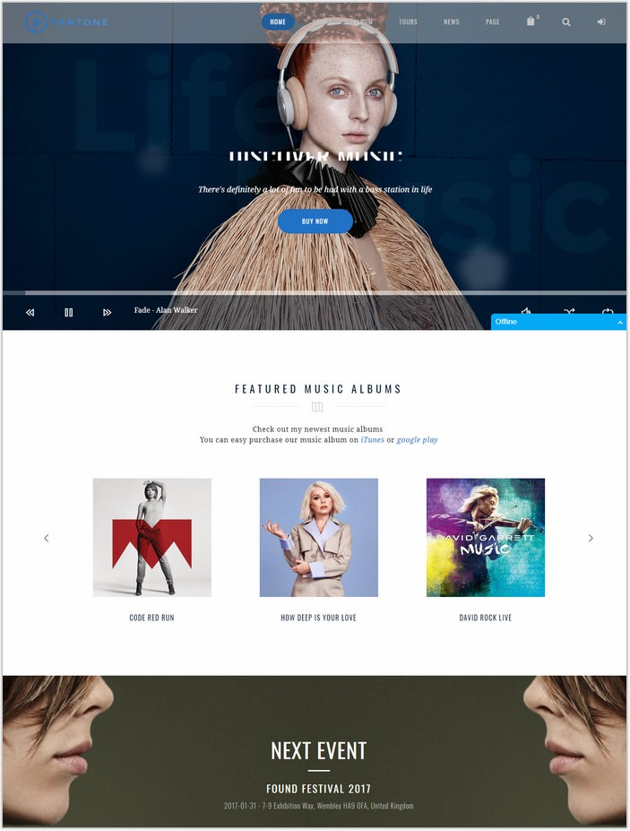 Pantone - Music Artist WordPress Theme