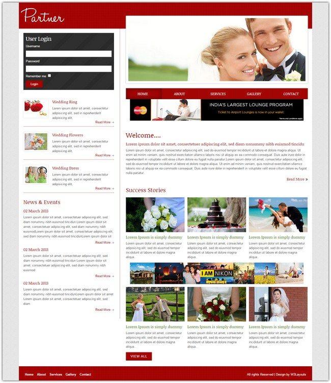 Partner a wedding planner Mobile Website Template