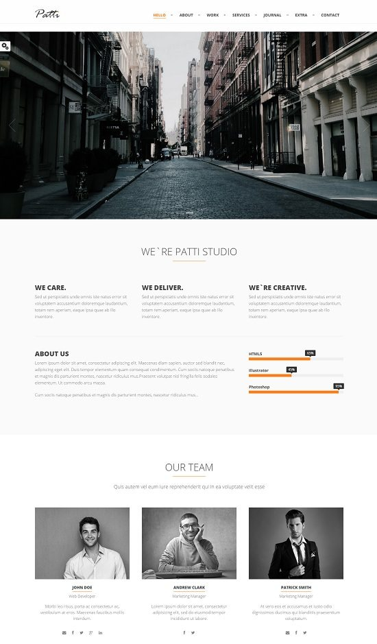 Patti - Parallax One Page HTML Template