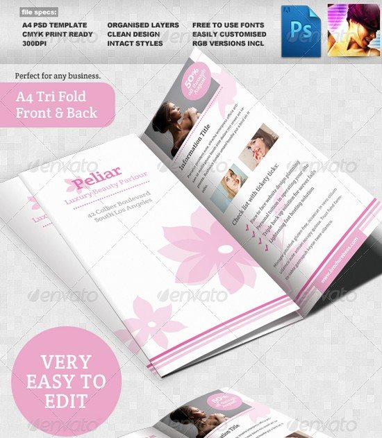 Peliar Beauty Hair Salon 3 Fold Brochure