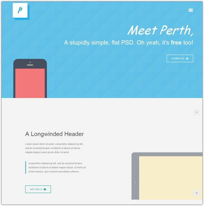 Perth flat Responsive design Mobile Website Template
