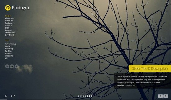 Photogra – Fullscreen Responsive WP Theme