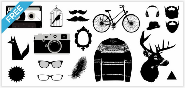 Photoshop Brushes Vector PNG – Hipster graphics