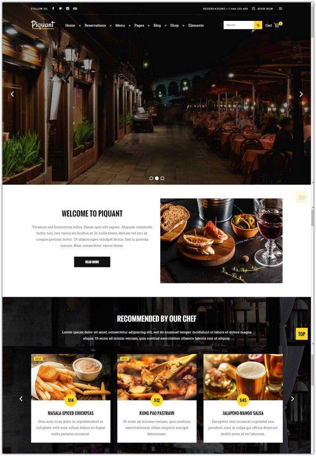 Piquant – A Restaurant, Bar & Café Theme
