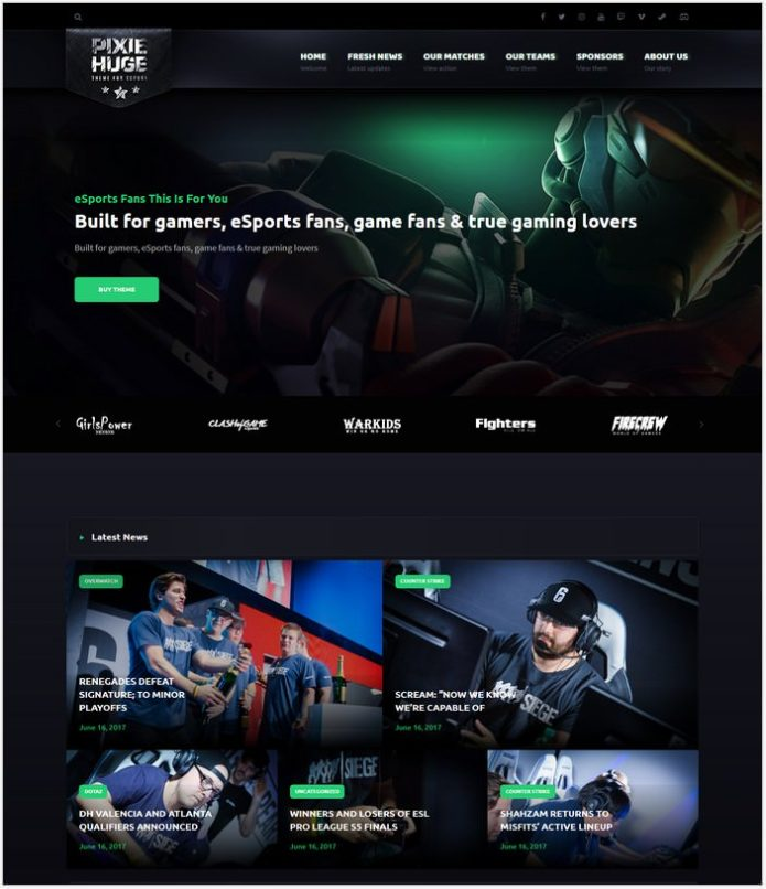 PixieHuge eSports Gaming Theme