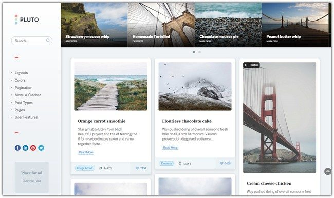 Pluto Clean Personal WordPress Masonry Blog Theme