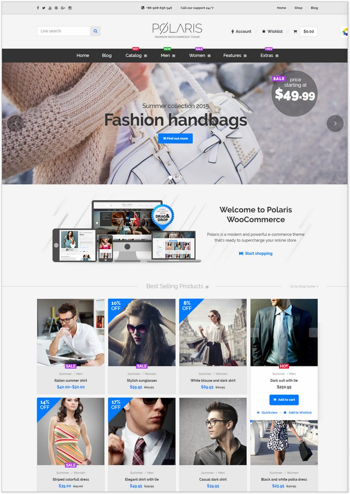 Polaris Fashion Woo Commerce PHP Theme