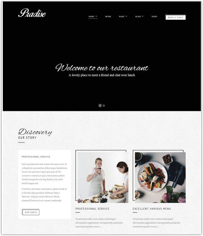 Pradise Cafe & Restaurant WordPress Theme