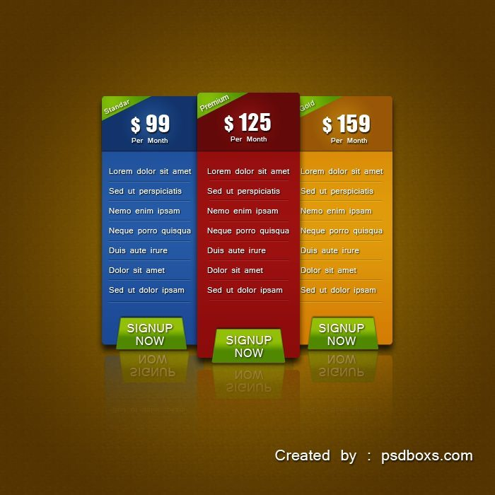 Pricing Table Free PSD and Tutorial