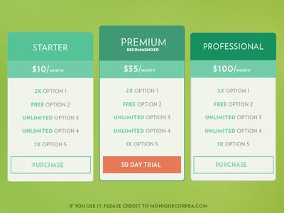 Pricing Tables [Freebie]