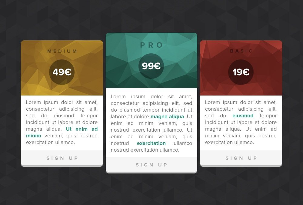 Pricing tables (PSD freebie)