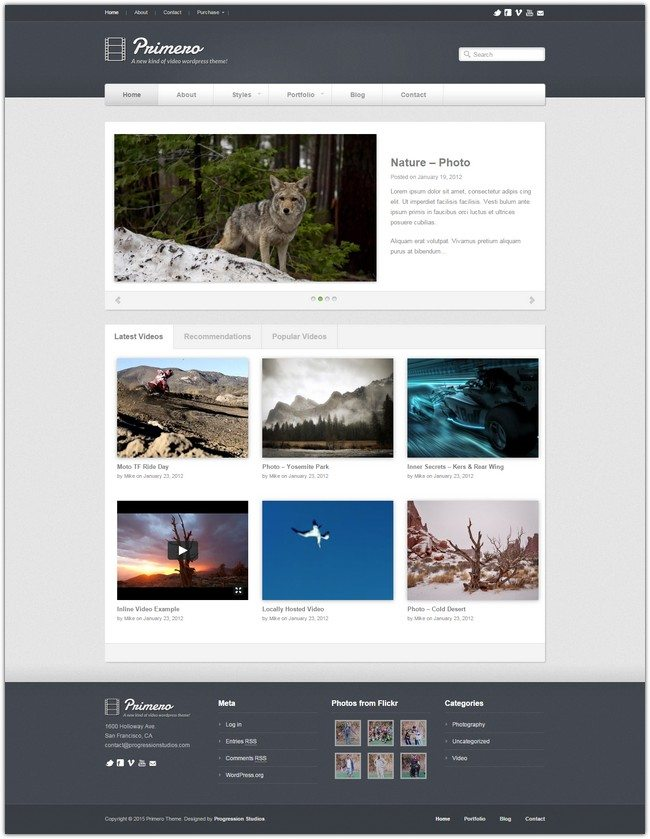 Primero – Video WordPress Theme