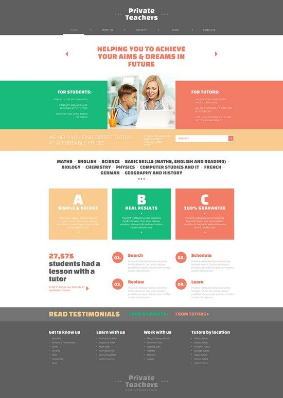 Private Teachers' Assistance Joomla Template