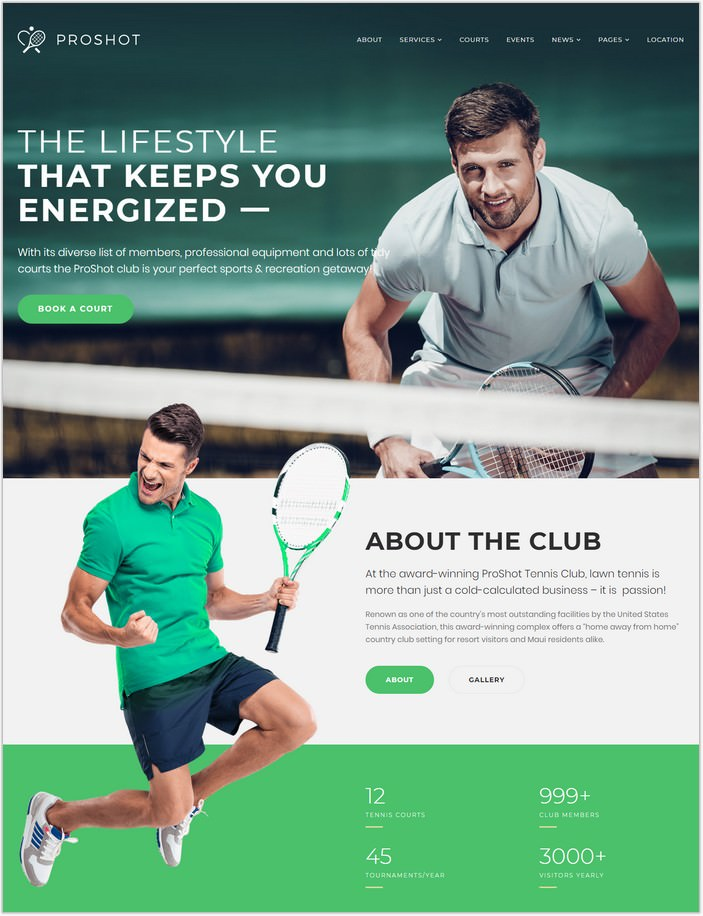 ProShot - Tennis Club WordPress Theme