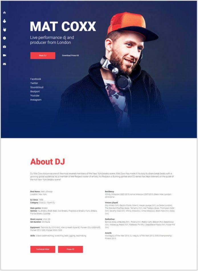 PromoDJ - DJ Website Responsive Muse Template