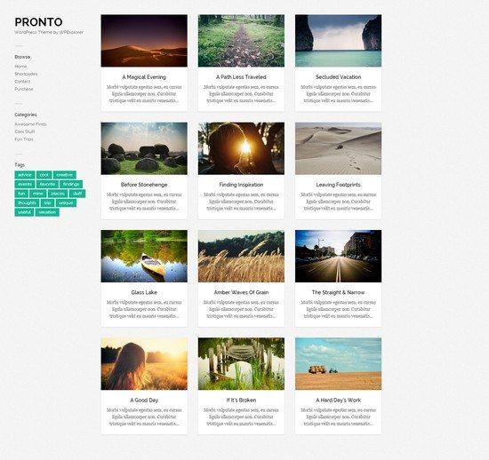 Pronto Free Masonry Gallery WordPress Theme