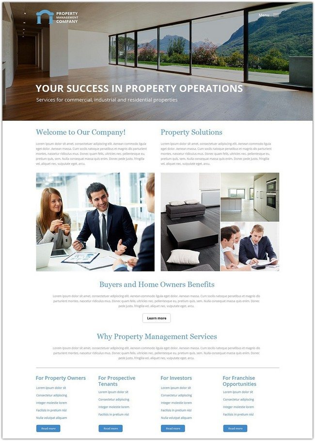 Property Management Real Estate Agency Responsive Website Template