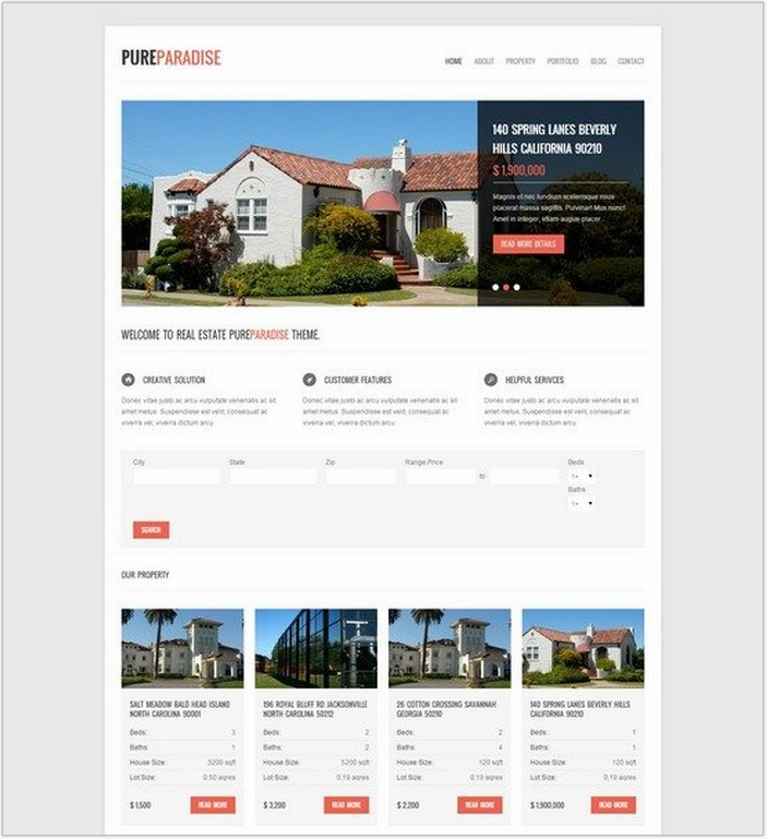 Pure Paradise – Clean Real Estate WordPress Theme